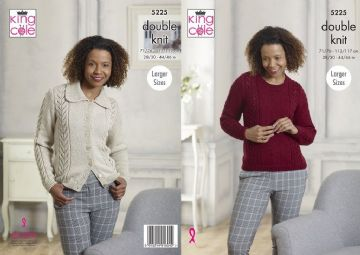 King Cole DK Ladies Sweater and Cardigan Knitting Pattern , 5225